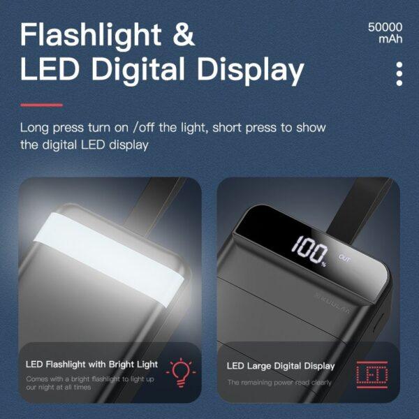 Batterie externe 50000mAh Blanc lampe de poche