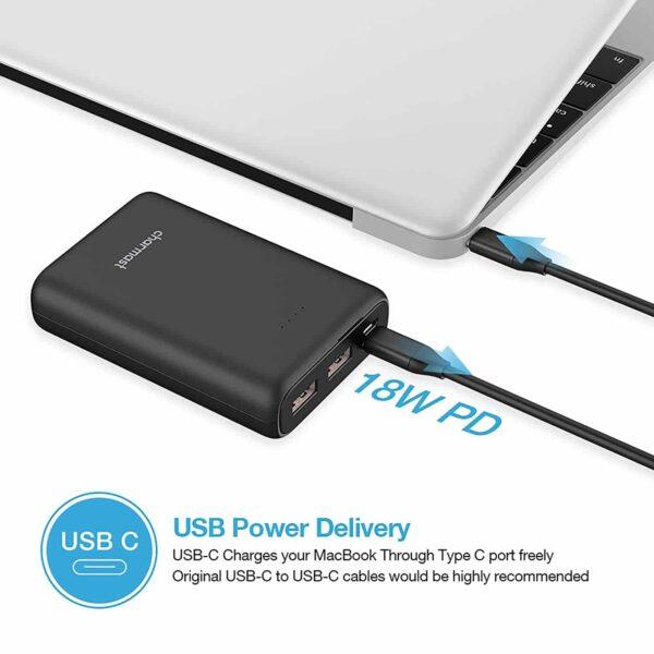 Batterie externe USB C 10000mAh charge rapide ordinateur portable