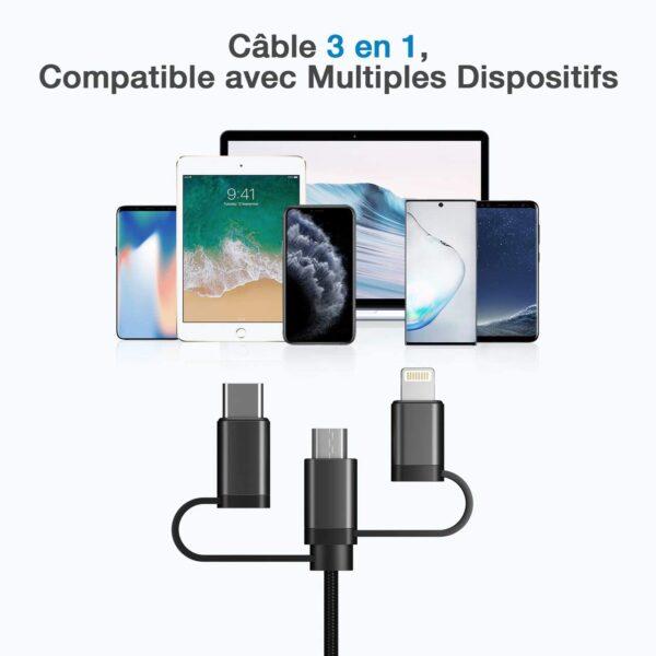 Batterie externe USB C 30W câble multi ports