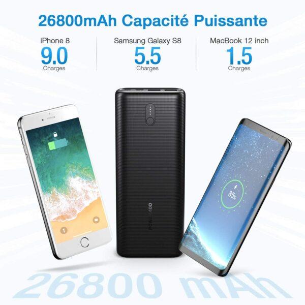Batterie externe USB C 30W grande capacité