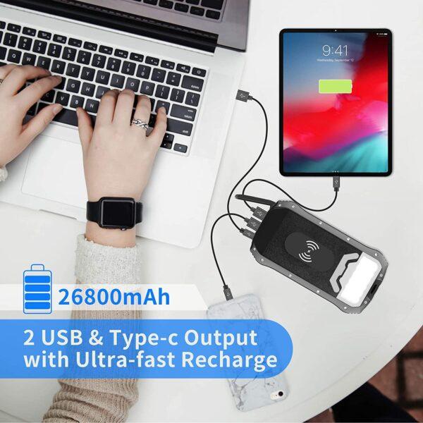 Batterie externe rechargeable solaire câble usb