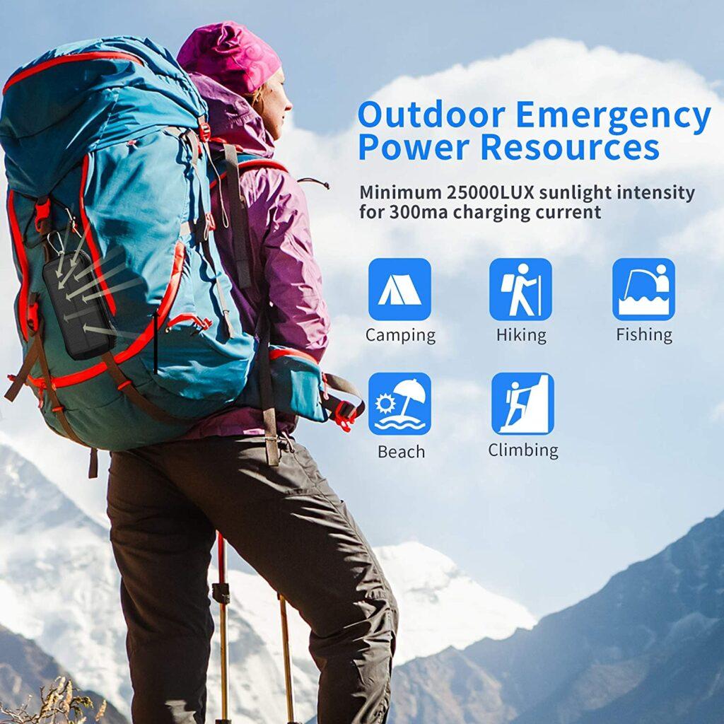 Batterie externe rechargeable solaire sac à dos randonnée