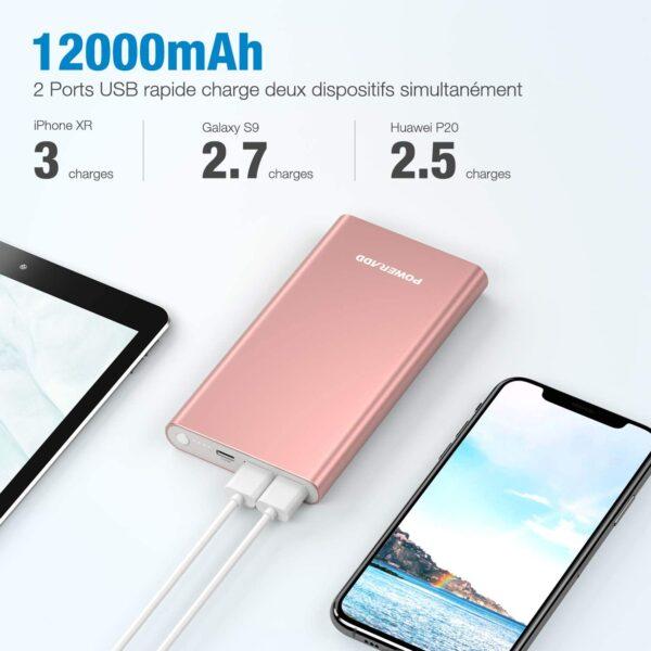 Batterie externe rose pas cher 12000 mAh