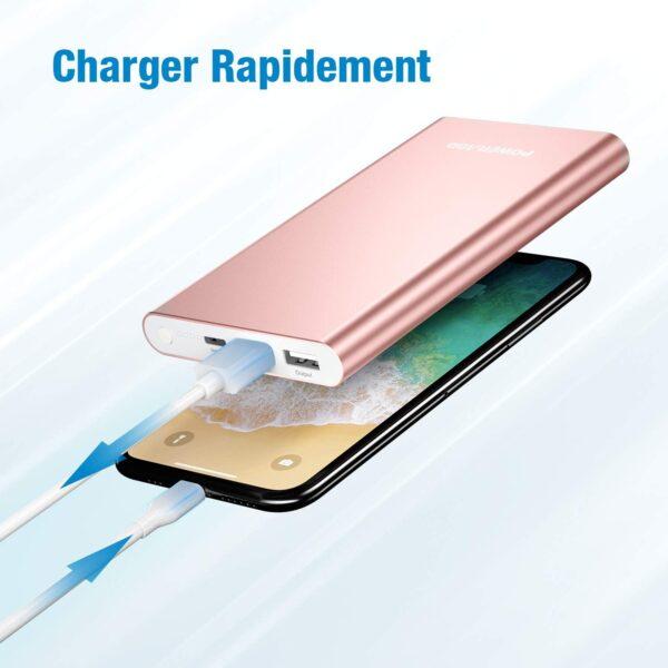 Batterie externe rose pas cher charger rapidement