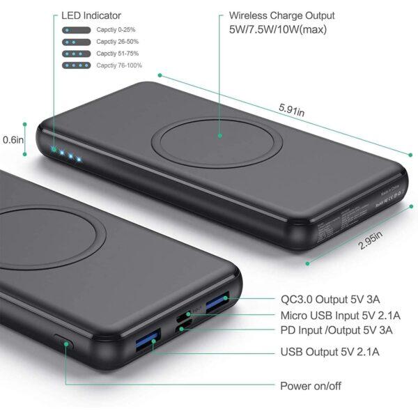 Batterie externe sans fil Samsung S9 dimensions et ports