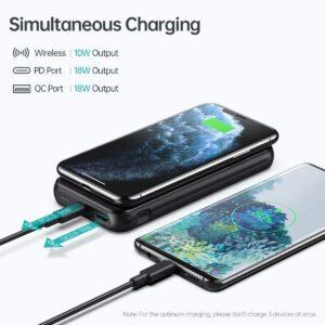 Batterie externe sans fil iPhone 11 charge simultanée