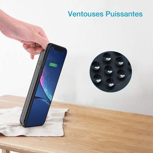 Batterie externe sans fil iPhone 7 ventouses puissantes