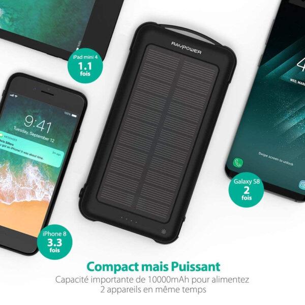 Batterie externe solaire 10000mAh RAVPOWER capacité