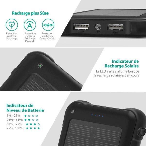 Batterie externe solaire 10000mAh RAVPOWER caractéristiques
