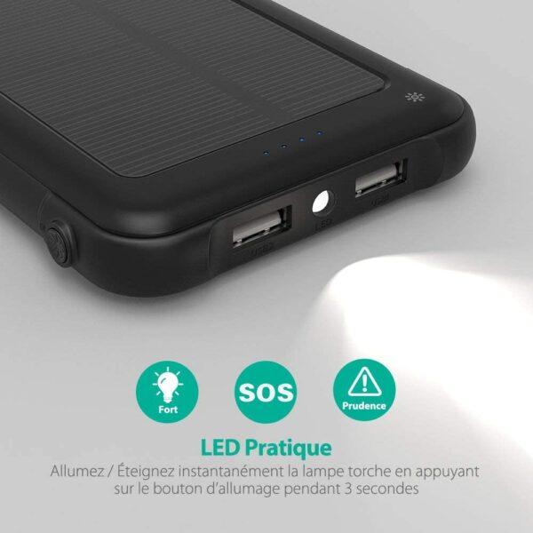Batterie externe solaire 10000mAh RAVPOWER lampe torche