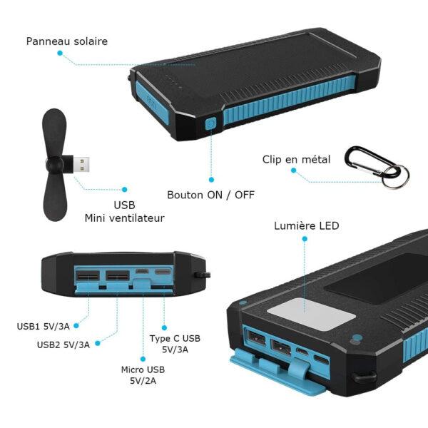 Batterie externe solaire 20000mAh Inno caractéristiques