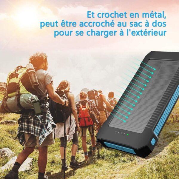 Batterie externe solaire 20000mAh Inno crochet sac à dos