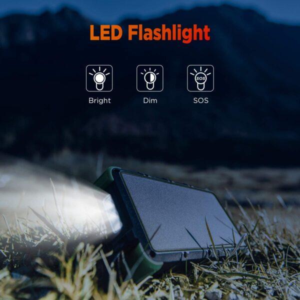 Batterie externe solaire 25000mAh OUTXE LED flashlight