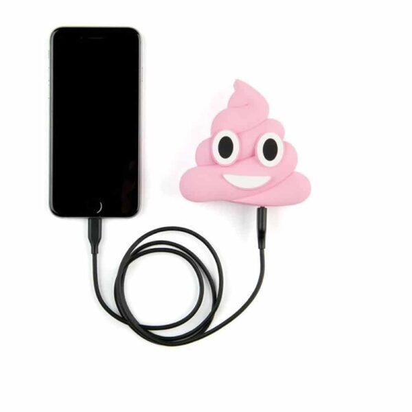 batterie externe emoji caca branché a un smartphone