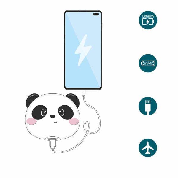 batterie externe emoji panda cable usb