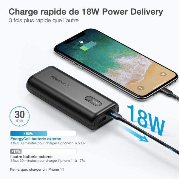 Batterie externe 10000mAh 18w charge iphone