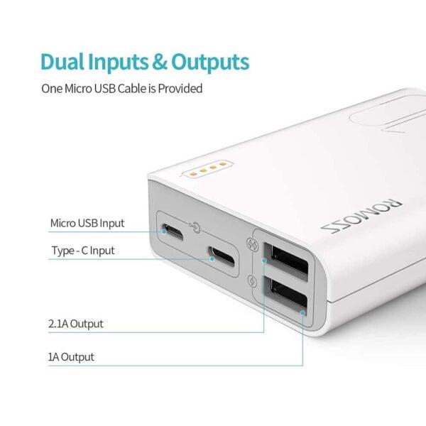 Batterie externe 10000mAh 2.1A ports USB