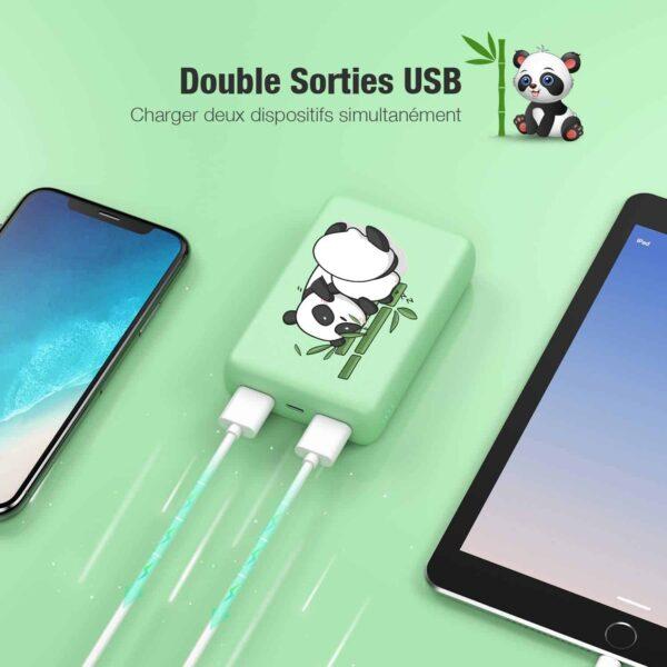 Batterie externe 10000mAh Panda double sortie usb
