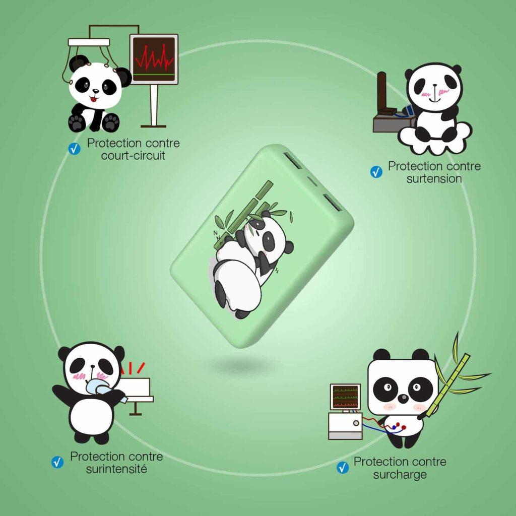 Batterie externe 10000mAh Panda protection smartphone