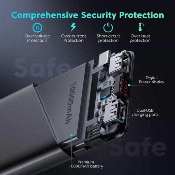 Batterie externe 10000mAh Romoss protection sécurité