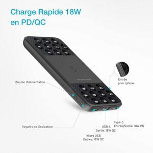 Batterie externe 10000mAh avec ventouse charge rapide 18W