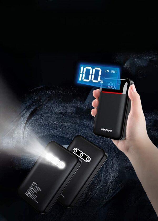 Batterie externe 10000mAh légère et puissante lampe de poche