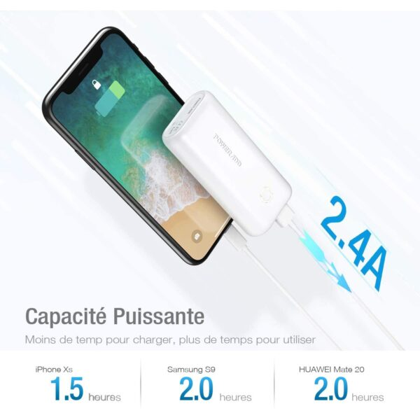 Batterie externe 10000mAh petite et puissante charge rapide de 2.4 Ampères