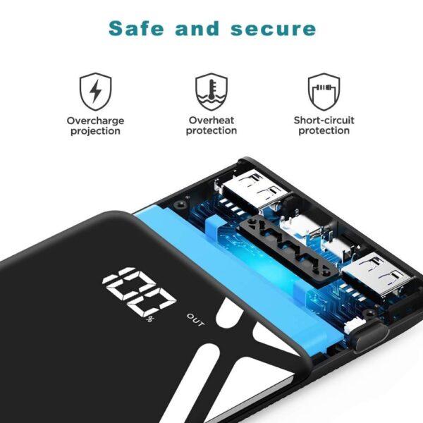 Batterie externe 20000mAh Krekco securisé protection