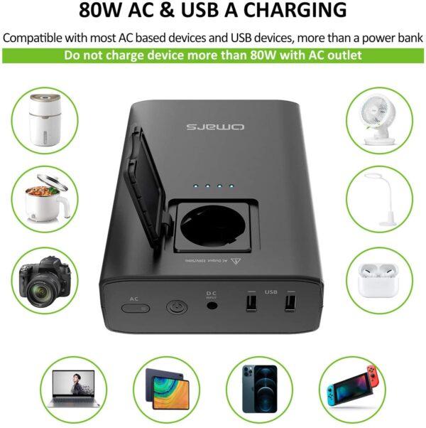 Batterie externe 20000mAh avec prise secteur charge usb a