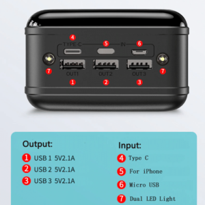 Batterie externe 50000mAh Caseier nombre de ports 7