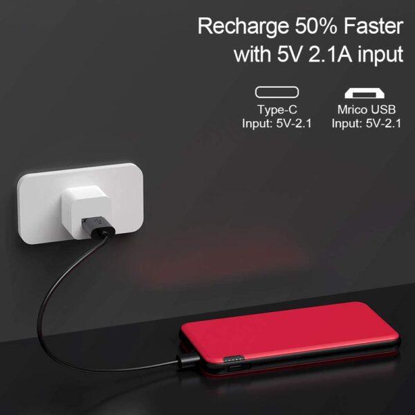 Batterie externe Ultra fine charge deux fois plus rapidement