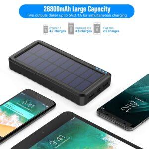 Batterie externe solaire LED 26800 grande capacité