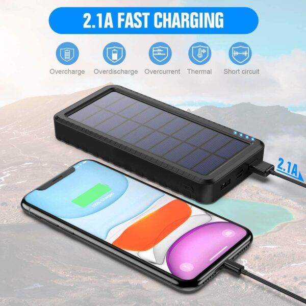 Batterie externe solaire LED charge rapide 2.1a