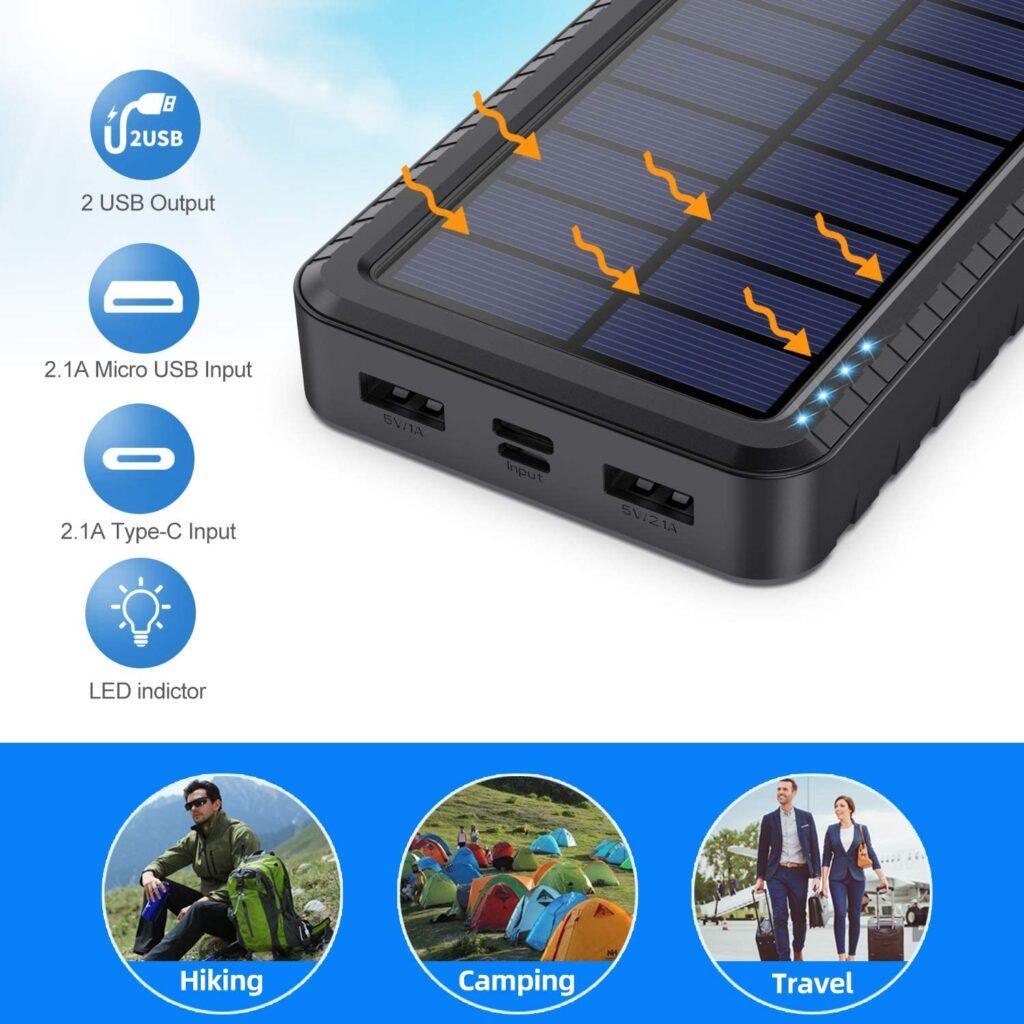 Batterie externe solaire LED charge solaire