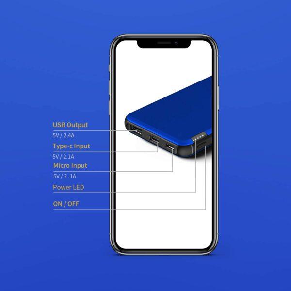 Batterie externe Bleu charge rapide