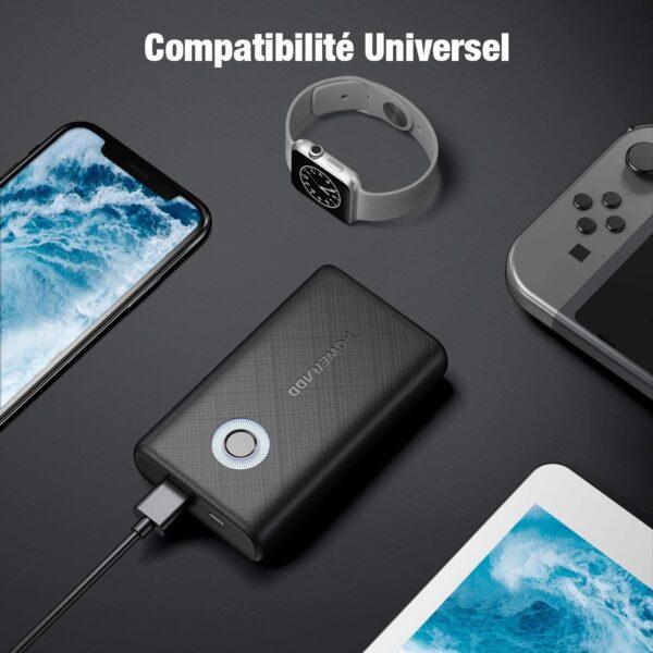 Batterie externe Quick Charge compatibilité universelle