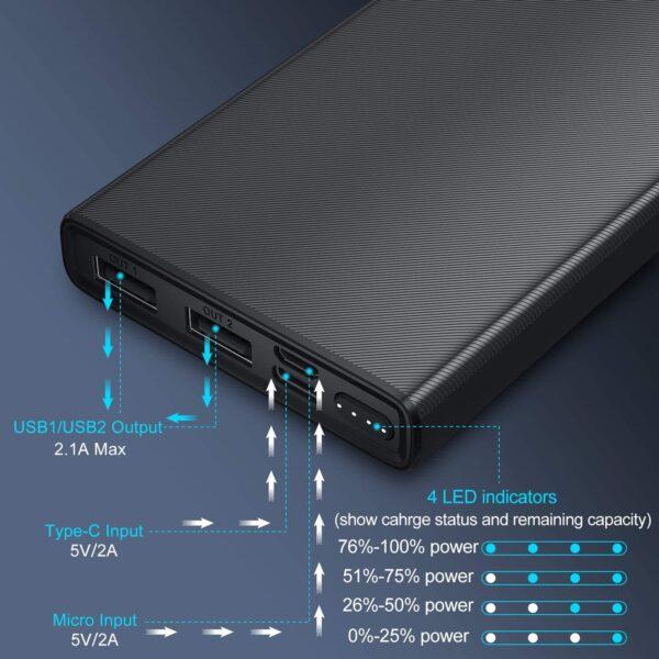 Batterie externe pour téléphone port USB