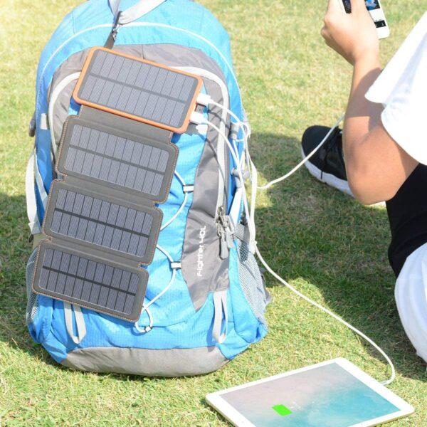 Batterie externe solaire 4 panneaux charge rapide