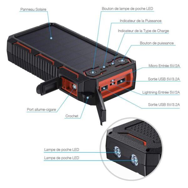Batterie externe solaire Poweradd caracteristiques
