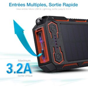 Batterie externe solaire Poweradd charge rapide