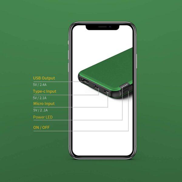 Batterie externe vert charge rapide