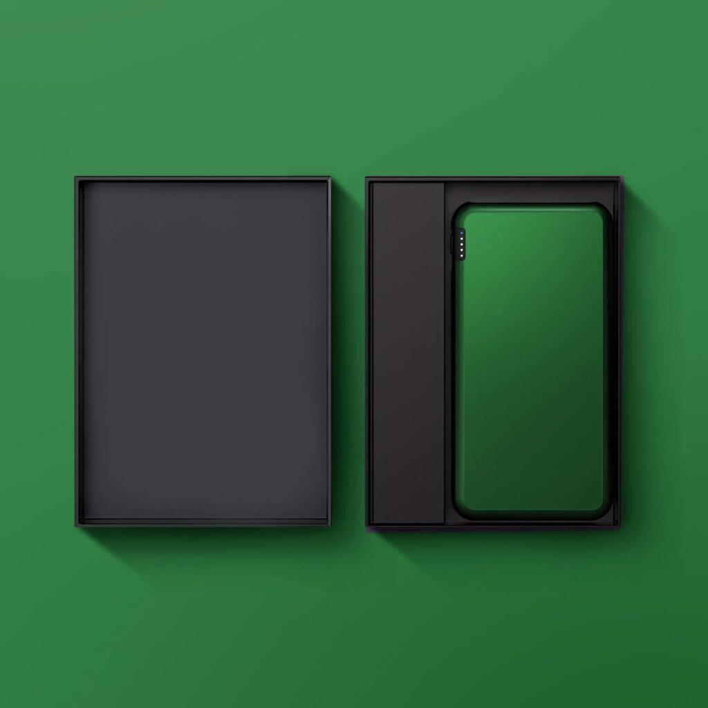 Batterie externe vert emballage
