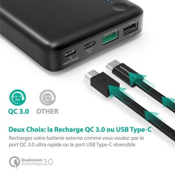 Batterie externe 20000mAh RAVPower USB Type C