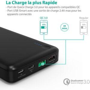Batterie externe 20000mAh RAVPower charge la plus rapide