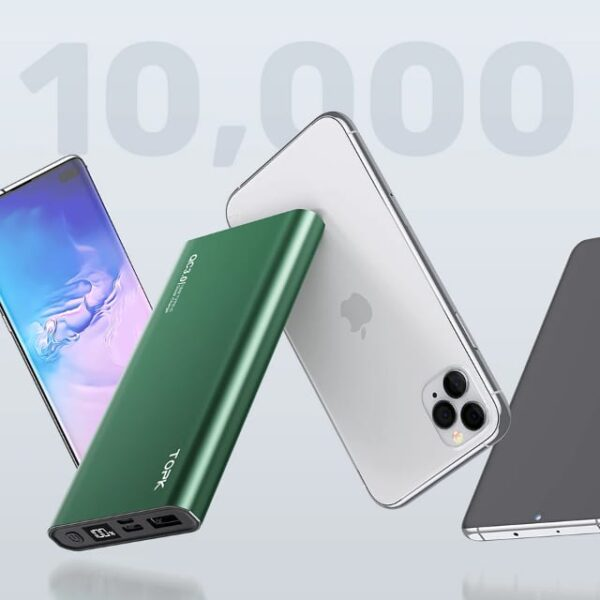 Batterie externe 10000 mAh TOPK Verte iphone et samsung