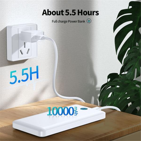 Batterie externe 10000mAh Blanche charge rapide