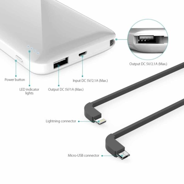 Batterie externe 10000 mAh Dodocool ports connecteurs