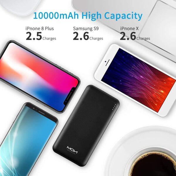 Batterie externe 10000mAh Moxnice charge plusieurs fois un téléphone