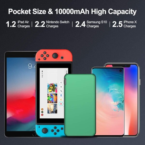 Batterie externe 10000mAh Ockered Verte grande compatibilité