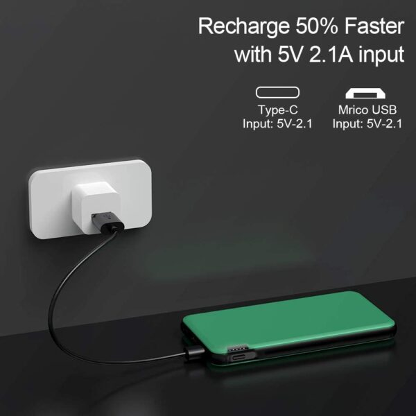Batterie externe 10000mAh Ockered Verte recharge rapide